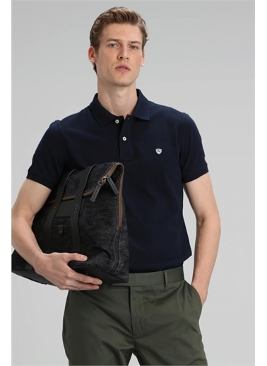 Lufian Lufian Laon % 100 Pamuklu Polo T Shirt Erkek Polo 111040055 Lacivert